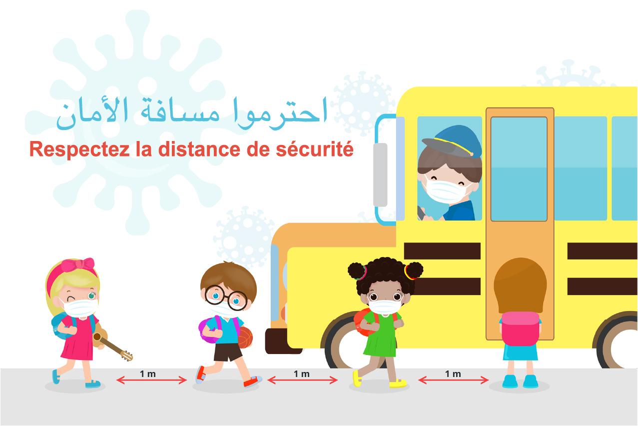 Affiche adhésif COVID 19 pour Ecole Maroc coronavirus mesures de sécurité signalétique covid19 ecole sécurité enfants ecole maroc